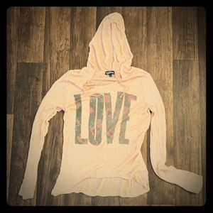 """Thin hooded """"LOVE"""" sweater Size L"""